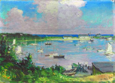 A work-up painting by artist Harold Brett of Wychmere Harbor (1934)